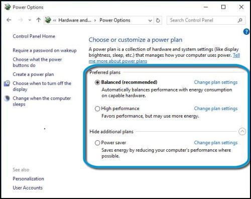 Power plan options