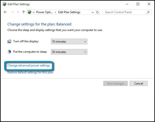 Display and sleep settings with Change advanced power settings highlighted