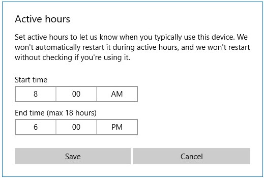 Start time and End time settings