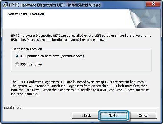 HP PC Hardware Diagnostics UEFI installation location