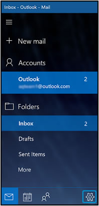 Opening the Mail settings by clicking the Settings icon