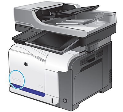 Location of the model name on the front of the printer