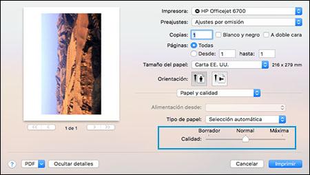 Selección de la calidad de impresión normal en la ventana Configuración de impresión