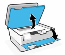 Apertura dello sportello anteriore e sollevamento dello sportello di accesso alle cartucce di inchiostro