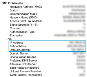 Identificación de la dirección IP, la máscara de subred y la puerta de enlace predeterminada en el informe de configuración de red