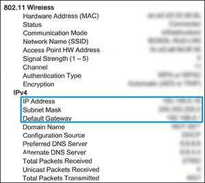 Het IP-adres, subnetmasker en de standaard gateway op het netwerkconfiguratierapport vaststellen