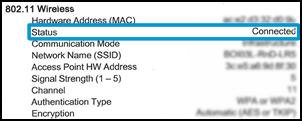Stan połączenia bezprzewodowego Połączono na stronie konfiguracji sieci