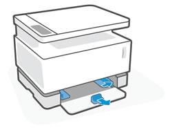De papiergeleiders naar buiten schuiven