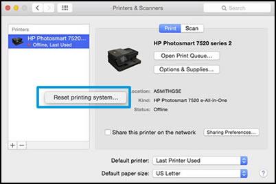 Haga clic en Restablecer sistema de impresión