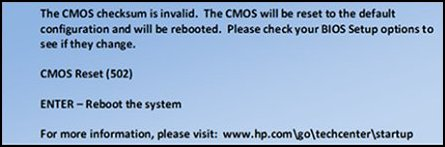 Ejemplo de mensaje que se muestra para indicar el reinicio del CMOS