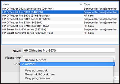 Legge til en skriver i systempreferanser med AirPrint