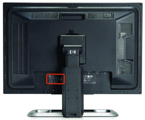Ejemplo de un número de serie en la parte posterior del monitor
