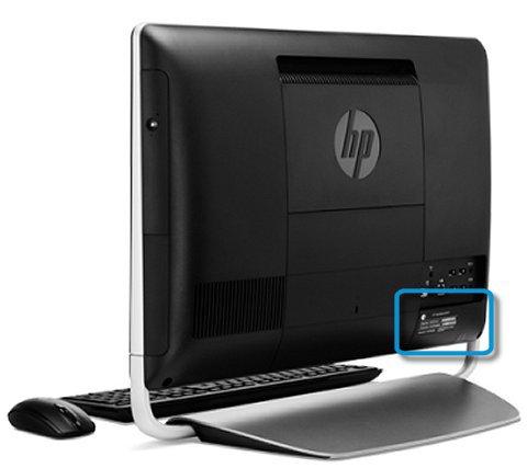 Het productinformatielabel aan de onderkant van de achterkant van een HP All-in-One-desktopcomputer