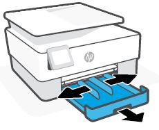 Wysuwanie podajnika papieru i dosuwanie prowadnic szerokości papieru na zewnątrz