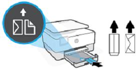 Umieszczanie kopert stroną do druku w dół