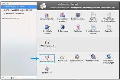 Klicken auf Einrichten einer Wireless-Verbindung in HP Utility