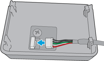 Connect the white 5-pin connector to the HP Jetdirect