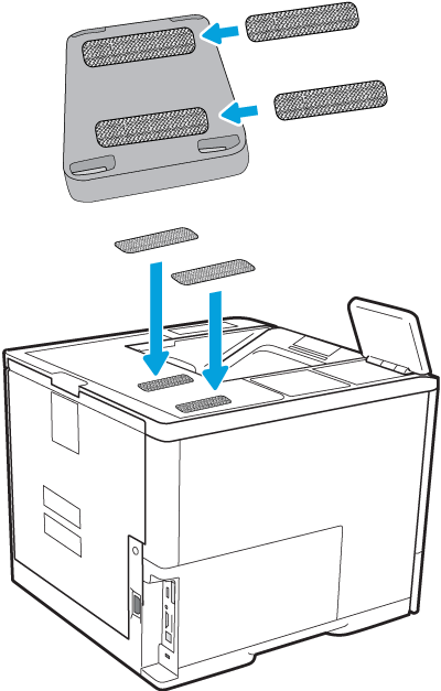 Attach the fastener strips to the HP Jetdirect and the top of the printer