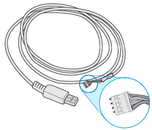 Long USB cable with white 5-pin connector