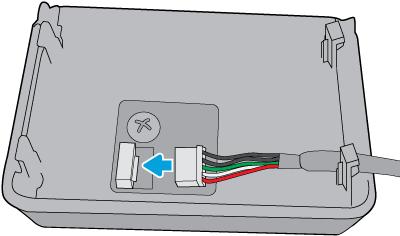 Podłącz białe 5-stykowe złącze do urządzenia HP Jetdirect