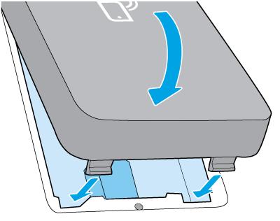Dociśnij urządzenie HP Jetdirect w celu zamocowania go na miejscu
