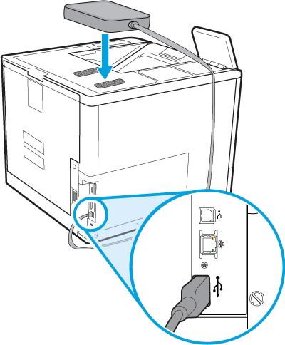Zamocuj urządzenie HP Jetdirect na drukarce i podłącz kabel USB