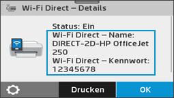Anzeigen des Menüs Wi-Fi Direct-Details