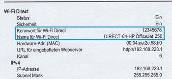Position des Abschnitts Wi-Fi Direct in einem Netzwerkkonfigurationsbericht