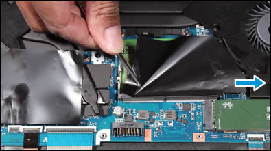 Removing the polyester film covering the memory module