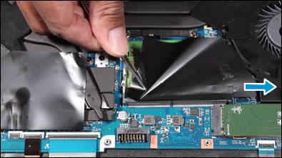 Removendo o filme de poliéster que cobre o módulo de memória