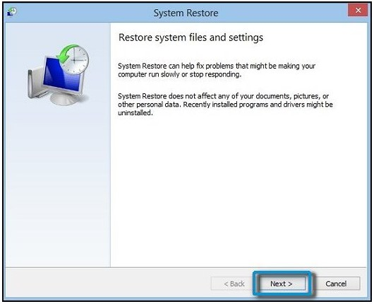 Clicking Next in the System Restore window