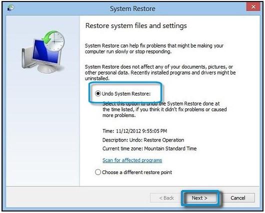 Selecting Undo System Restore