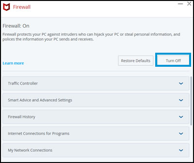 Example of turning off the firewall