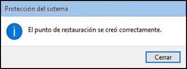 """Botón Cerrar en la pantalla """"punto de restauración creado correctamente"""""""
