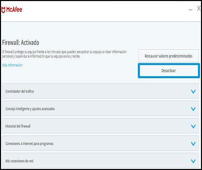 Ejemplo de cómo desactivar el Firewall