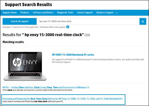 Exemplo de resultados de pesquisa no Suporte ao cliente HP