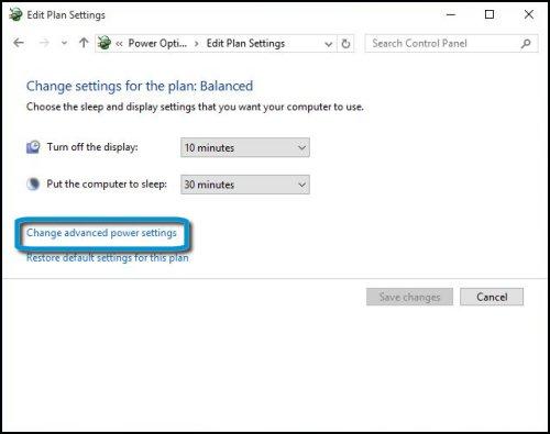 Configuración de pantalla y suspensión con la opción Cambiar la configuración avanzada de energía resaltada