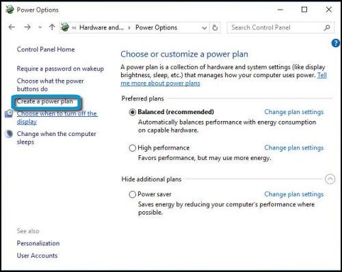 Ventana de opciones de energía con la opción Crear un plan de energía resaltada