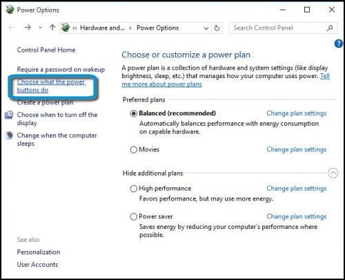 Opciones de energía con la opción Elegir el comportamiento de los botones de Encendido/Apagado seleccionada