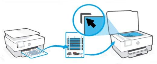 Posizionamento della pagina di allineamento sul piano dello scanner