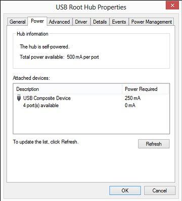 USB Root Hub Power Properties window