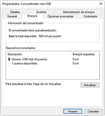 Ventana de Propiedades de energía del concentrador raíz USB
