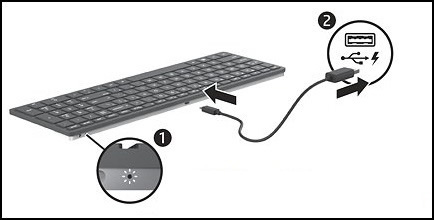 Keyboard with (1) LED battery indicator and (2) MicroUSB cable to charging device connection