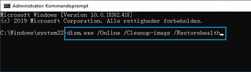 Eksempel på dism.exe /Online /Cleanup-image /Restorehealth indtastet i Kommandoprompt