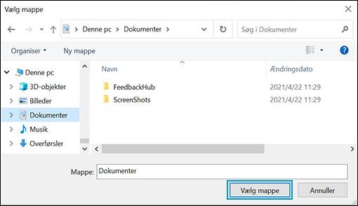 Indstillinger for Drev- og mappevalg i Windows Sikkerhed