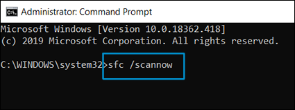 Executar a Verificação de Arquivos do Sistema na janela do prompt de comando