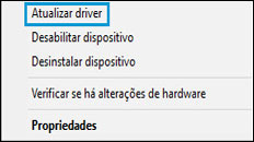 Seleção de Atualizar driver em Gerenciador de Dispositivos