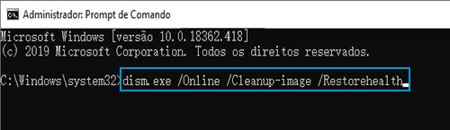 "Exemplo de ""dism.exe /Online /Cleanup-image /Restorehealth"" digitado no Prompt de Comando"
