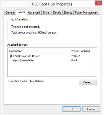 USB Root Hub Power Properties window