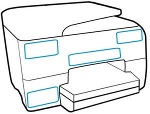HP printer product name locations on the front